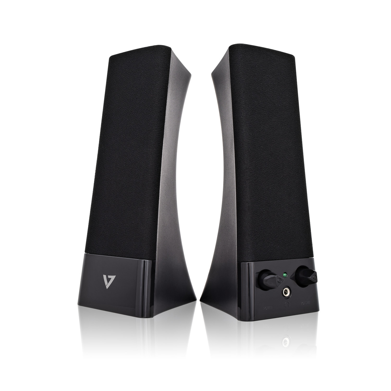 V7 SP2500-USB-6N Speaker System - 5 W RMS - Black - 100 Hz to 20 kHz - USB 3.5MM INPUT 5W RMS VOL CNTRL BLK